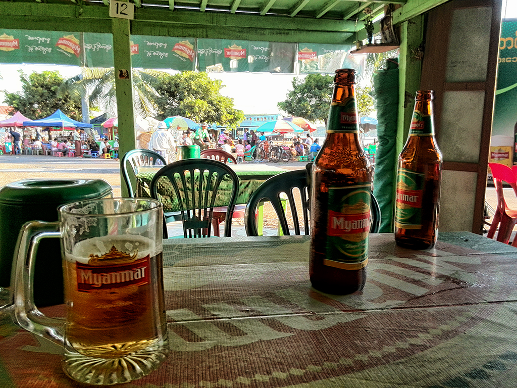 Myanmar beer on a terrace in the old harbour of Yangon