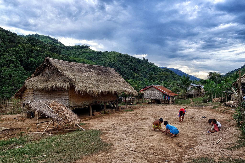 Kids playing in a hilltribe village in Northern Laos