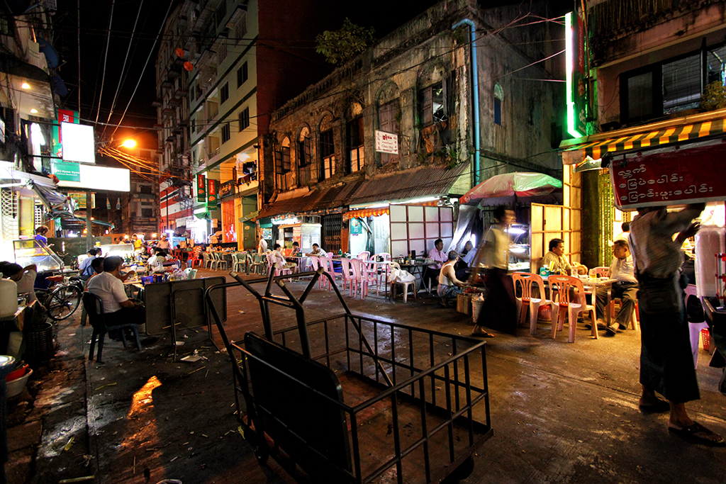 End of the night on 19th street aka barbeque street in Yangon, Burma