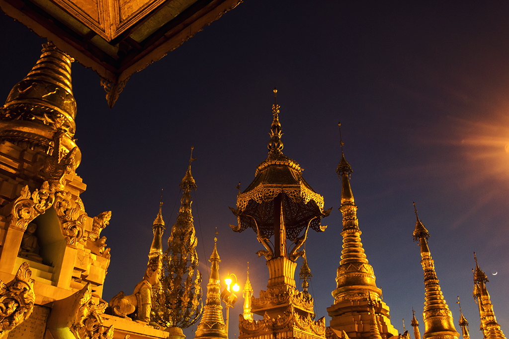 Everything shines gold at the Shwedagon Pagoda on a hill outside Yangon city centre.