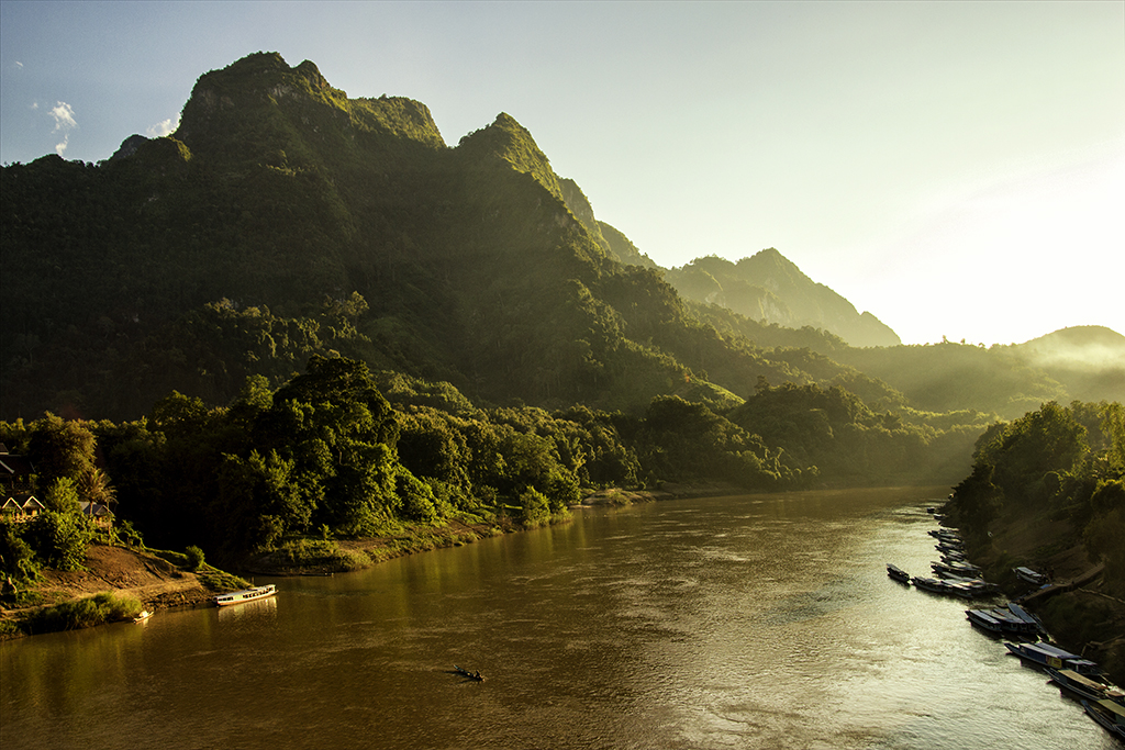 Sunset over the river in Nong Khiaw, Laos