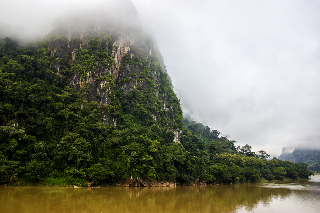 Morning mist over the Nam Ou river in Nong Khiaw, Laos