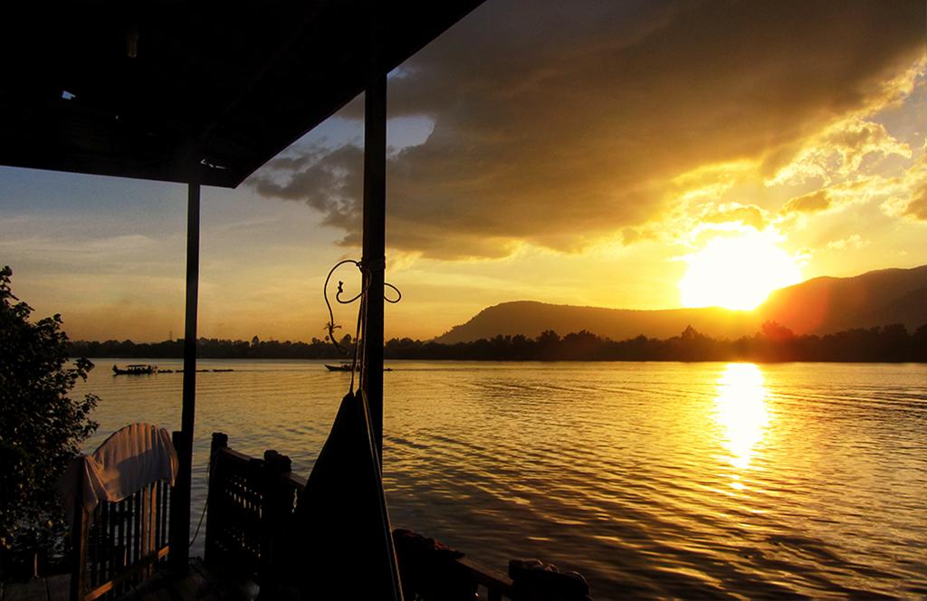 sunset over bokor mountain from our verandah in Kampot